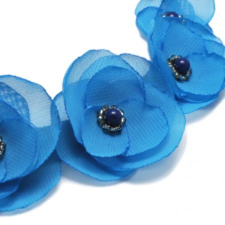 BLUE SKY | Colier statement elegant, flori albastru azur4