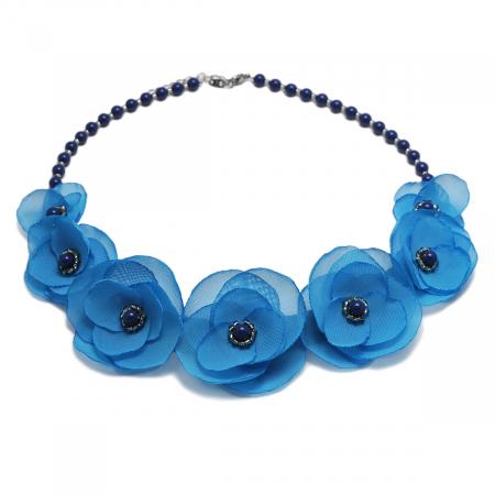 BLUE SKY | Colier statement elegant, flori albastru azur3