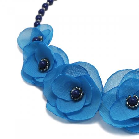 BLUE SKY | Colier statement elegant, flori albastru azur1