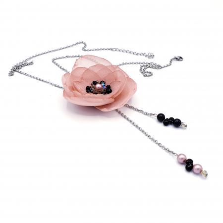 ROSA | Colier lung elegant, floare roz prafuit0