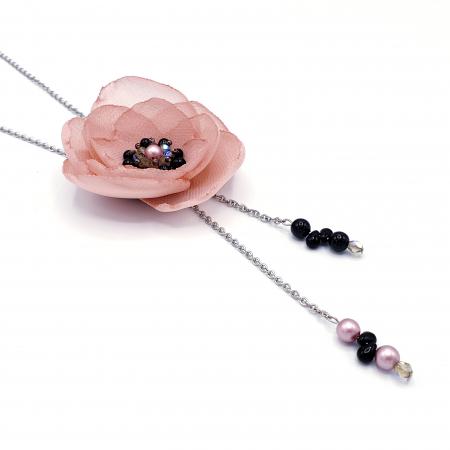 ROSA | Colier lung elegant, floare roz prafuit2