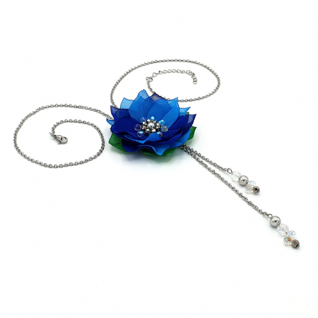 BLUE FLOWER | Colier lung pandantiv floare albastra2