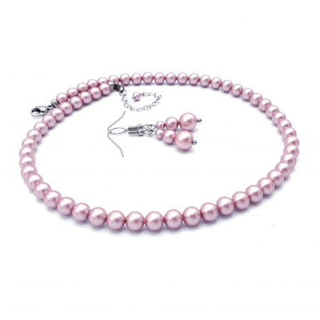PINK DROPS | Set colier si cercei, perle Swarovski, roz pudra1