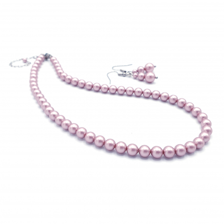 PINK DROPS   Set colier si cercei, perle Swarovski, roz pudra0