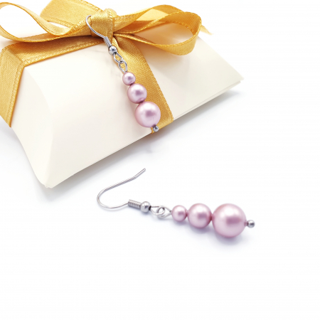 PINK DROPS   Set colier si cercei, perle Swarovski, roz pudra2
