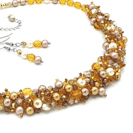 HONEY | Set colier si cercei, auriu, elemente Swarovski1