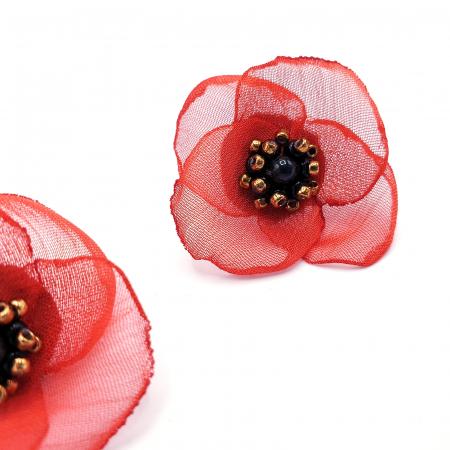 ZIA | Cercei floare rosie, perle Swarovski2