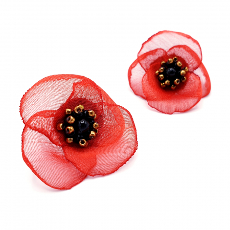 ZIA | Cercei floare rosie, perle Swarovski0