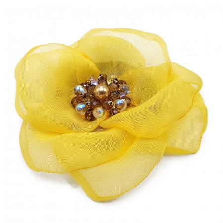 SELENA | Brosa handmade floare galbena0