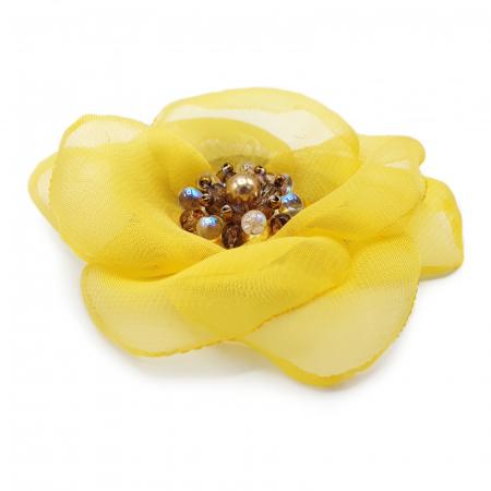SELENA | Brosa handmade floare galbena1