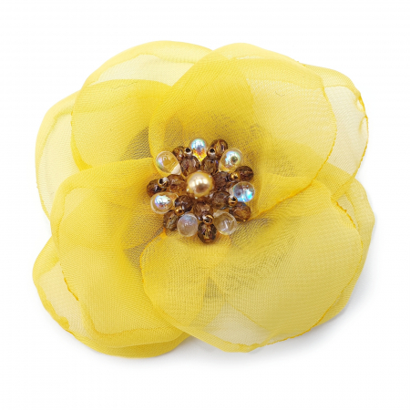 SELENA | Brosa handmade floare galbena3