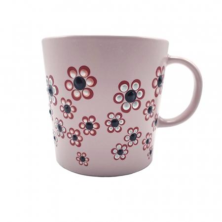ROSANA | Cana roz pentru cafea/ ceai, pictata manual cu flori2