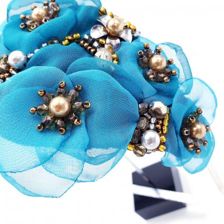 CIELO | Coronita par cu flori turcoaz, perle Swarovski2