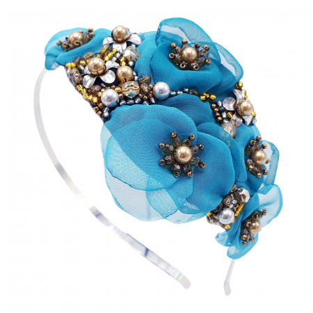 CIELO | Coronita par cu flori turcoaz, perle Swarovski0