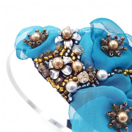 CIELO | Coronita par cu flori turcoaz, perle Swarovski1
