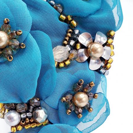CIELO | Coronita par cu flori turcoaz, perle Swarovski3