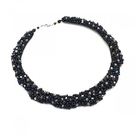 MAGIC BLACK | Colier statement elegant, pietre negre3