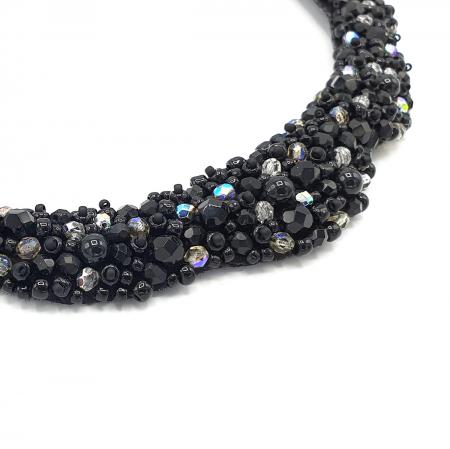 MAGIC BLACK | Colier statement elegant, pietre negre2