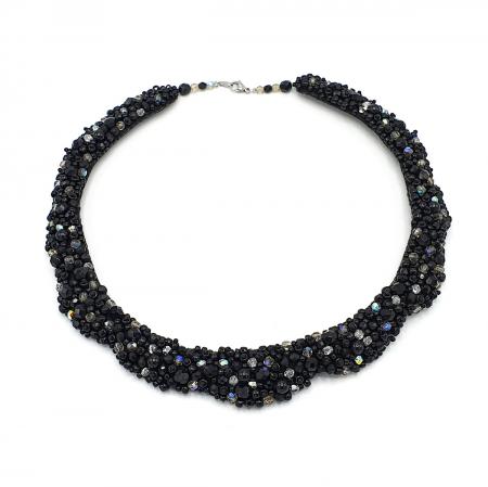 MAGIC BLACK | Colier statement elegant, pietre negre1
