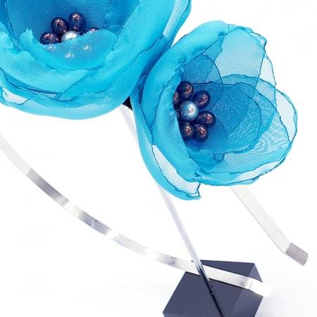 ELISA | Bentita par, din voal stil matase, flori albastru-turcoaz1