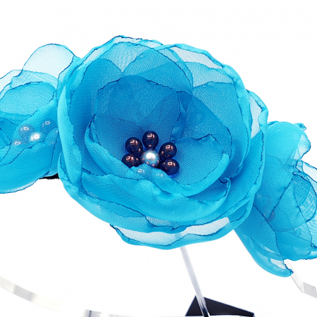 ELISA | Bentita par, din voal stil matase, flori albastru-turcoaz3