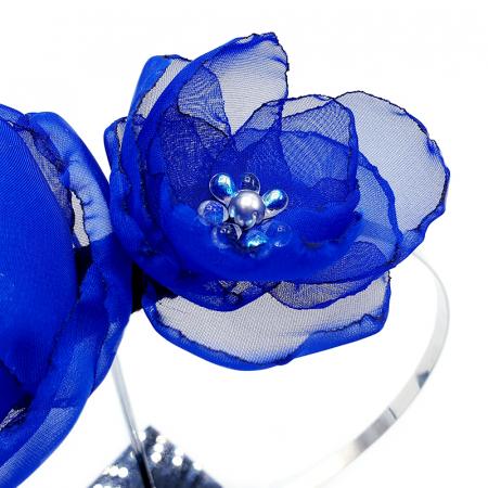 ANNA | Accesoriu par cu flori albastre, din voal stil matase2