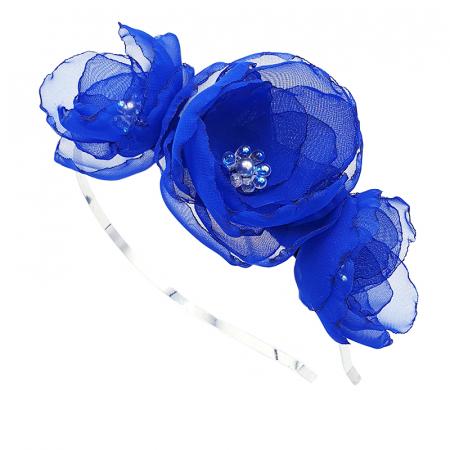 ANNA | Accesoriu par cu flori albastre, din voal stil matase0