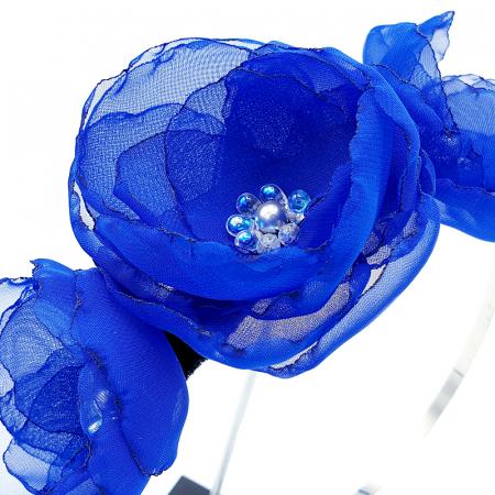 ANNA | Accesoriu par cu flori albastre, din voal stil matase1