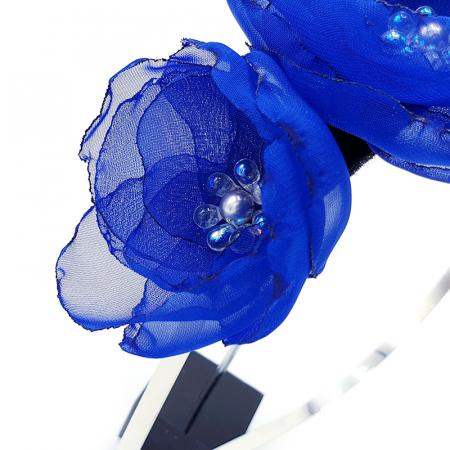 ANNA | Accesoriu par cu flori albastre, din voal stil matase3