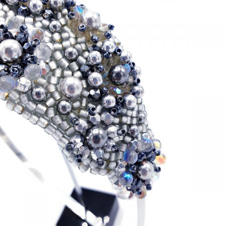 ICE LADY | Bentita par argintie cu perle2