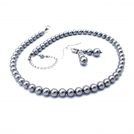 STYLISH | Set colier si cercei, perle Mallorca, argintiu1