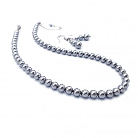 STYLISH | Set colier si cercei, perle Mallorca, argintiu0