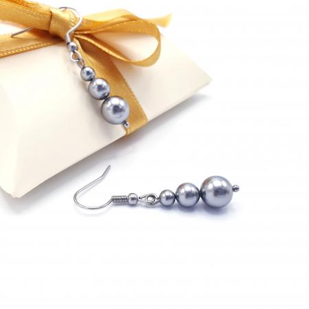STYLISH | Set colier si cercei, perle Mallorca, argintiu2