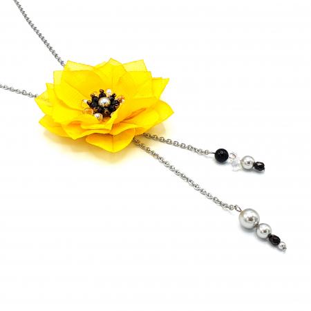 DAISY | Colier lung, floare galbena1
