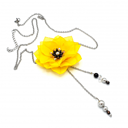 DAISY | Colier lung, floare galbena0