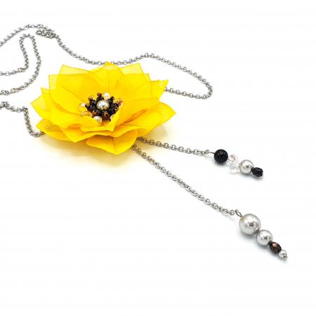 DAISY | Colier lung, floare galbena2