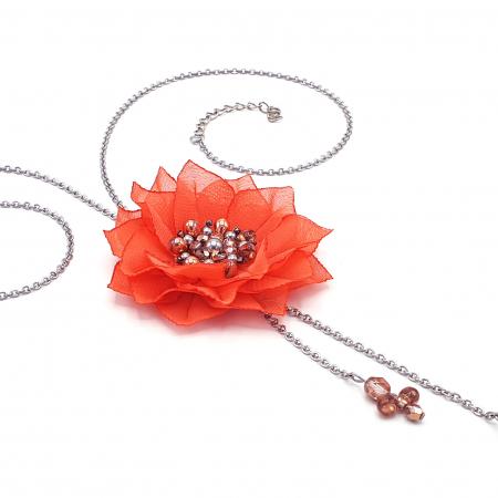 ROSETTA | Colier lung pandantiv floare coral2