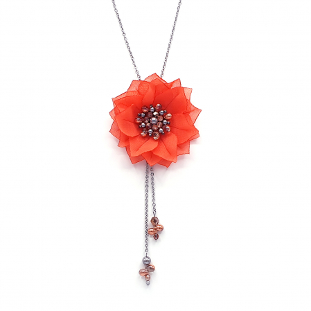 ROSETTA | Colier lung pandantiv floare coral0