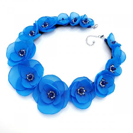 BLOSSOM | Colier cu flori albastre, statement0