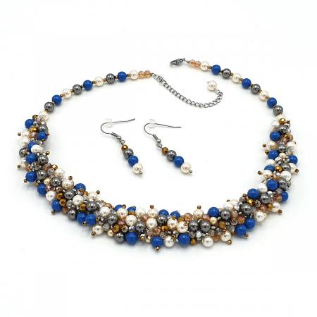 FANTEZIE | Set colier la baza gatului si cercei, cu perle0