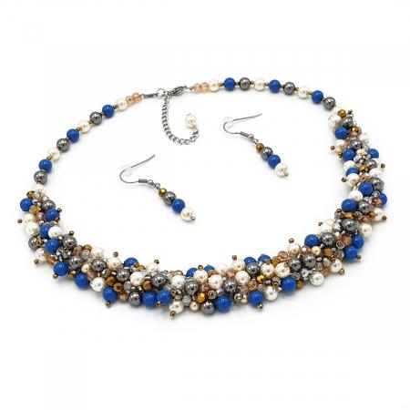FANTEZIE | Set colier la baza gatului si cercei, cu perle2