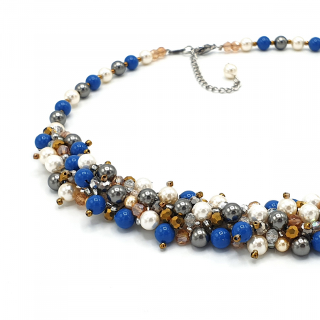 FANTEZIE | Set colier la baza gatului si cercei, cu perle1