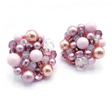Pink Drops | Cercei statement roz, rotunzi, cu surub4