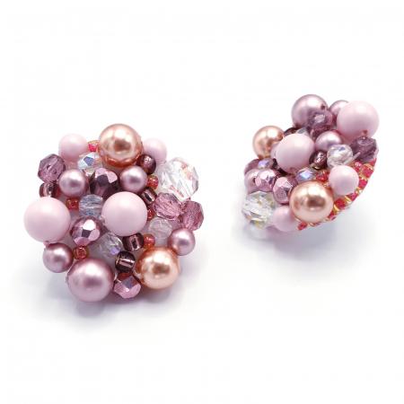 Pink Drops | Cercei statement roz, rotunzi, cu surub0