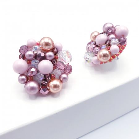 Pink Drops | Cercei statement roz, rotunzi, cu surub2
