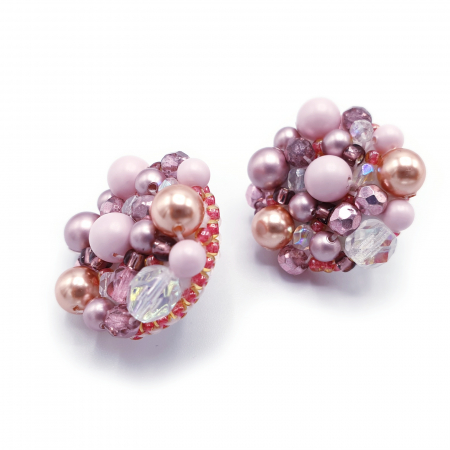 Pink Drops | Cercei statement roz, rotunzi, cu surub3