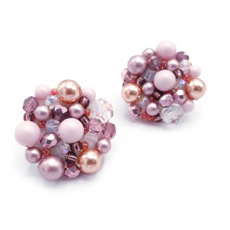 Pink Drops | Cercei statement roz, rotunzi, cu surub1