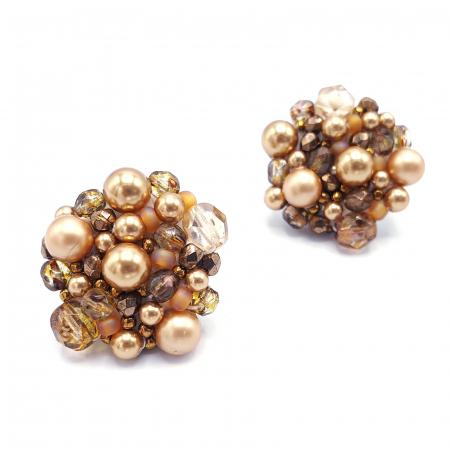 Gold Drops | Cercei aurii rotunzi elemente Swarovski2
