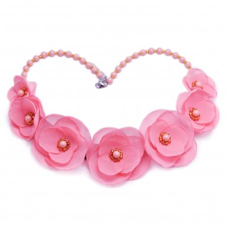 ROSALINA | Colier statement elegant, flori roz6