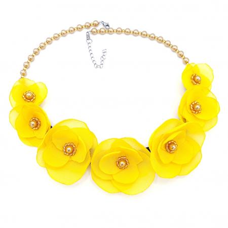 SUNSHINE | Colier statement elegant, flori galbene0